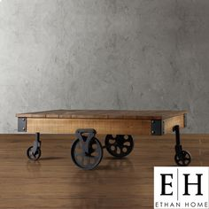 ETHAN HOME Myra Vintage Industrial Modern Rustic Cocktail Table | Overstock.com - cool coffee table for the large lobby that brings in the raw wood looks of the 6th floor. $349