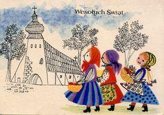 Polish Xmas 19 by Orchard Lake Polish Holidays, Polish Christmas, Christmas Art, Vintage Christmas Cards, Vintage Cards, Vintage Postcards, Polish Easter, Easter Wishes, Easter Card