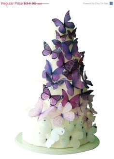 Edible purple ombre butterfly wedding cake topper decorations.  I want