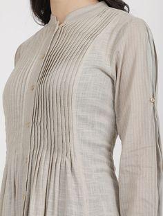 Grey Cotton Slub Kurta with Scarf (Set of Salwar Designs, Kurta Designs Women, Kurti Designs Party Wear, Sleeves Designs For Dresses, Neck Designs For Suits, Blouse Neck Designs, Pakistani Fashion Casual, Pakistani Dress Design, Frock Design