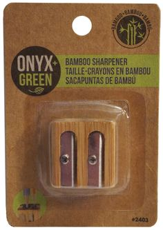 Onyx and Green Double Sharpener, Metal, Bamboo Pencil a bit dull? Use this sharpener from Onyx & Blue to sharpen it up. 2 hole sharpener with a bamboo casing. The packaging is made of recycled materials. Eco Friendly Cleaning Products, Eco Products, Bamboo Products, Green Products, Natural Products, Fast Growing Plants, Green Life, Sustainable Living, Zero Waste