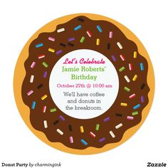 "Fun Birthday Party Idea: Donut Party 5.25"" Square Invitation Card"