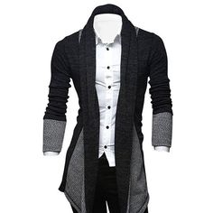 $16.33 Turndown Collar Color Block Longline Cardigan