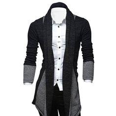 $16.33 Turndown Collar Color Block Longline Cardigan