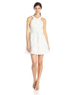 Ivy   Blu Women s Cutaway Fit and Flare Bonded Floral Lace Party Dress -  White Grey - CT11UKRCG4X 09896f33b