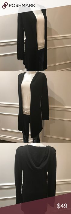 Easygoing Currant Affair black long sweater w/hood Easygoing Currant Affair long black hooded drape sweeter. Comfortable fabric blend made of Nylon, Acrylic, and Wool. Bought at Nordstroms and worn once. Current Affair Sweaters Cardigans