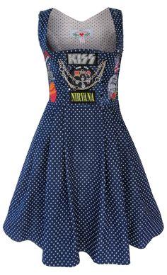 Heavy Metal Damen Dirndl Kleid mit Deinen Wunsch Patches individualisierbar von mein herzblut im mein herzblut shop