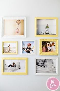 """One of my favorite photographers explains how she bought these frames from goodwill all for 40 bucks and made them into an art wall. She says, """"I laid out all the frames on the floor and moved them around like puzzle pieces until they lined up the way I wanted.  Then I enlisted the husband to spray paint them and hang them for me..."""""""