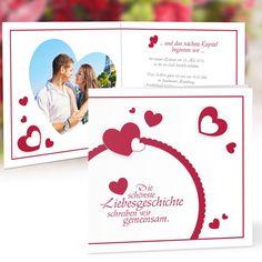 Hochzeitseinladung Lovestory rot mit Foto