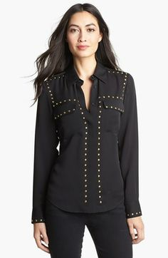 MICHAEL Michael Kors Studded Long Sleeve Shirt (Regular & Petite) available at #Nordstrom