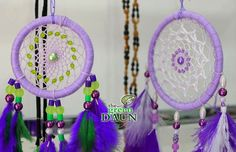 A couple of our 'Custom Made' Dream Catchers from Green Daun.   You can now learn how to make beautiful dream catchers at our shop in Damansara Perdana PJ. Classes are RM50.00 per person.   #dreamcatcher #dreamcatchermalaysia #craftshop #craftclass #purple #lavender #handmade #accessories