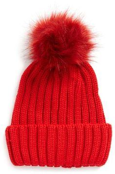 Women's Bp. Faux Fur Pompom Beanie - Red #Affiliate Link