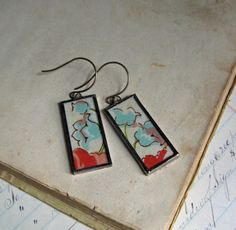 Spring Flowers Vintage Hanky Glass Earrings by ThatOldBlueHouse2