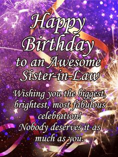 Sparkle Happy Birthday Card For Sister In Law When You Want To Celebrate