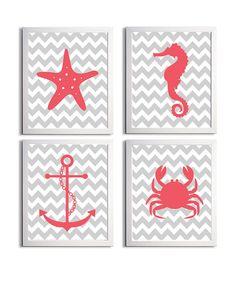 Nursery Art Chevron Beach Ocean Sea Coral Grey more by ZeppiPrints, $48.00