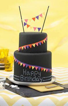 Chalkboard Pennant Cake