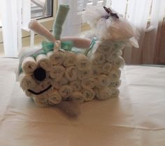 My daughter made this for her sister!  WHALE diaper cake baby shower ideas - whale themes