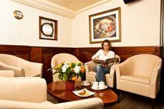 Seating aboard the luxurious hotelship Marjorie in Antwerp.