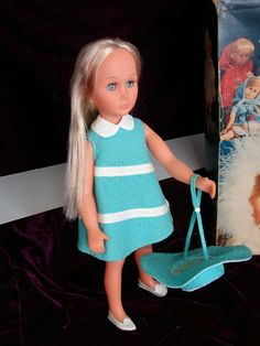 She wears her original outfit which is in excellent condition. She is nicely strung, with beautiful blue eyes and shiny blonde hair. Beautiful Blue Eyes, Euro, 1960s, How To Make, How To Wear, Italy, Summer Dresses, Dolls, The Originals
