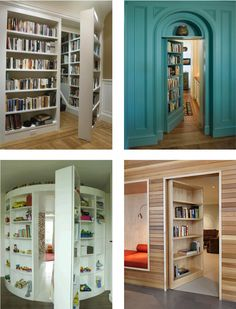 secret rooms in bookcases. I have always wanted a house with secret passages! Bookcase Door, Bookcases, Hidden Rooms, Secret Rooms, Secret House, Dream Rooms, Cool Rooms, House Rooms, Door Design