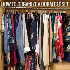 How to organize a college dorm closet. College Dorm Closet, College Dorm Rooms, College Apartments, College Dorm Storage, Studio Apartments, Small Apartments, Dorms Decor, Dorm Decorations, Decor Room