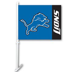 The Detroit Lions 2 Sided Logo Car Flag
