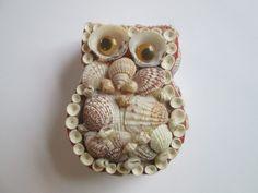 Vintage Owl Folk Art Seashell Trinket/Jewelry Box  Offered by Vanity Flair Vintage on Ruby Lane