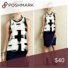 "NEW ANTHROPOLOGIE POSTMARK BLACK WHITE TOP SHIRT L NEW ANTHROPOLOGIE POSTMARK BLACK WHITE TOP SHIRT SZ L - 38-42"" BUST 26"" LENGTH - 98% POLYESTER 2% SPANDEX Anthropologie Tops Blouses"