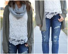 white lace top / olive chunky cardigan / gray infinity scarf / distressed jeggings by lynda