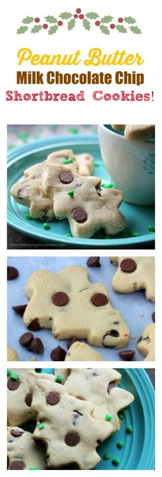 Peanut Butter Milk Chocolate Chip Shortbread Cookies! via @https://www.pinterest.com/BaknChocolaTess/