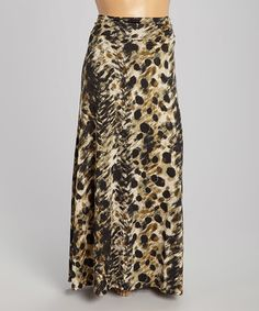 Look what I found on #zulily! Black & Beige Abstract Maxi Skirt - Plus by She's Cool #zulilyfinds