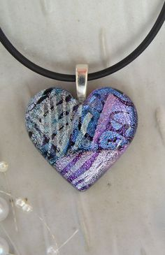 Free Necklace Dichroic Heart Pendant by myfusedglass on Etsy, $26.00