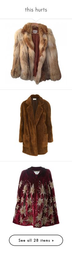 """""""this hurts"""" by paolabw ❤ liked on Polyvore featuring outerwear, jackets, coats, fur, american retro, women, imitation fur coats, crombie coat, oversized coats and oversized faux fur coat"""