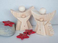 Doppelter Schutzengel + Mini-Engel 8x7 cm, Holz von Holz und Pinselstrich auf DaWanda.com