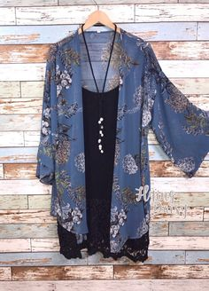 Plus Size Cardigan Kimono Blue Floral Print
