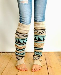 Aztec Leg Warmers, tribal print boot socks legwarmers, over the knee leg warmers, grace and lace.