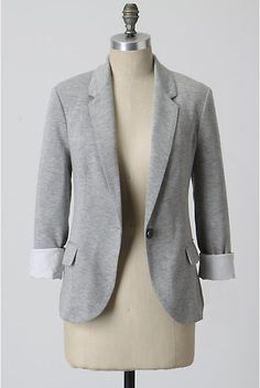 A co-worker has this amazing jersey blazer and I covet it whole-heartedly. It's made of thick jersey/sweatshirt material, so it's comfy & stretchy, but it's also beautifully tailored. I believe this photo is from Anthropologie, but I've been unable to find this blazer available for sale. When I do, it will be mine!!!!!