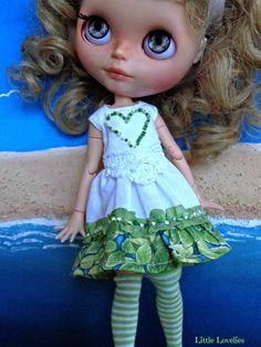 BLYTHE  Dress - OOAK - Vintage linen with ruffle and french knots by LittleLovelieShop on Etsy