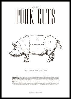 Pork chart, plakat i gruppen Plakater hos Desenio AB Kitchen Posters, Kitchen Prints, Kitchen Wall Art, Gold Poster, Print Poster, Parts Of A Cow, Beef Cuts Chart, Carnicerias Ideas, Different Cuts Of Beef