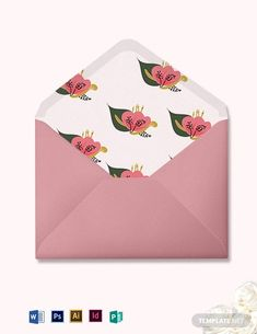 Professionally Designed/ Written Free Pink Floral Wedding Envelope Template Template - Easily Download, Edit & Print in Illustrator (ai), InDesign (idml), MS Word (doc), Photoshop (psd), Publisher (pub)