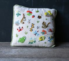 Vintage Embroidered Decorative Pillow Spring Animals Rabbit and Flowers 1970s From Nowvintage on Etsy