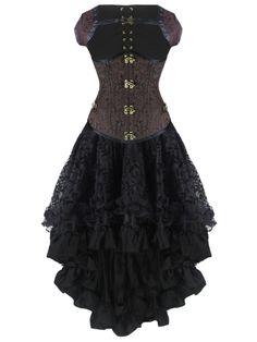 Walkingon Graceful Womens Double Steel Boned #Gothic #Steampunk #Corset #Dress