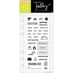 """Hero Arts Kelly Purkey Travel Planner Clear Stamps 2.5""""X6"""" for Planners. Planner Stamps. Scrapbooking Stamps."""