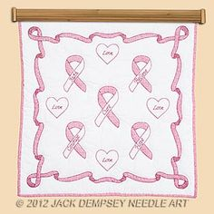 36-Inch by 36-Inch Jack Dempsey Needle Art 73960 Hope Ribbons Wall Quilt White