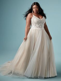 Wedding Dress MATILDA LYNETTE by Maggie Sottero - Search our photo gallery for pictures of wedding dresses by Maggie Sottero. Find the perfect dress with recent Maggie Sottero photos. Tulle Skirt Wedding Dress, Plus Size Wedding Gowns, V Neck Wedding Dress, Perfect Wedding Dress, Wedding Dress Styles, Designer Wedding Dresses, Bridal Dresses, Plus Size Brides, Curvy Wedding Dresses