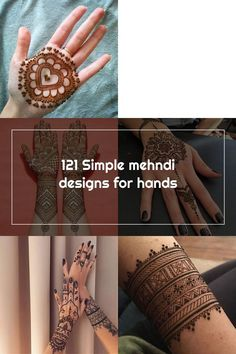 121 Simple mehndi designs for hands || Easy Henna patterns with Images | Bling Sparkle Simple Henna Patterns, Simple Mehndi Designs, Mehndi Designs For Hands, Easy Henna, Hand Tattoos, Sparkle, Bling, Image, Glow