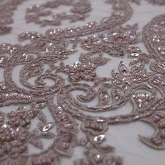 Tecido tule bordado rose fawn - Maximus Tecidos | Loja Online