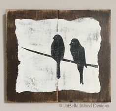 Two Birds On A Branch Distressed Wood Sign Rustic Pallet
