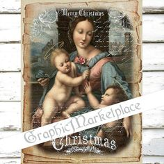 Madonna Christmas Large Image Religious Instant Download Vintage Transfer Fabric digital collage sheet printable No. 1325
