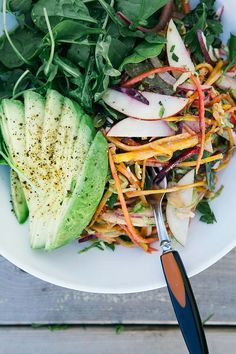 shredded brussels sprouts + fall veg salad w/ garlicky orange tahini dressing // the first mess